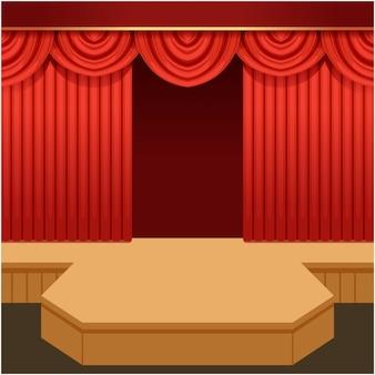 Открытая театральная сцена с красным занавесом и модным подиумом. деревянная выставочная сцена с алыми бархатными драпировками и пельменями. мультфильм иллюстрация.