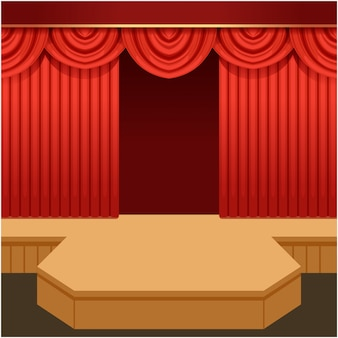 Open theater scene with red curtain and fashion podium. wooden show stage with scarlet velvet drapery and pelmets.   cartoon illustration.