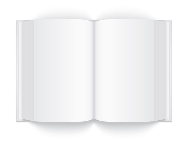 白い背景で隔離のハードカバーで厚い白い本を開くモックアップベクトル