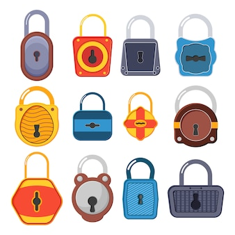 Open, unlocked and locked golden lock for protection and security. open and closed locks. a collection of gold padlocks of various shapes and conditions. flat style  illustration.