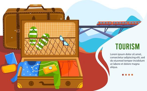 オープン休暇スーツケース旅行の概念図。休暇の旅行者のための夏のスリッパ、サングラス、カメラのパッキングの服やアクセサリーをスーツケースに入れた漫画のフラットレザーの荷物