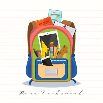 Open vector bag with school stationery and suplies. back to school illustration