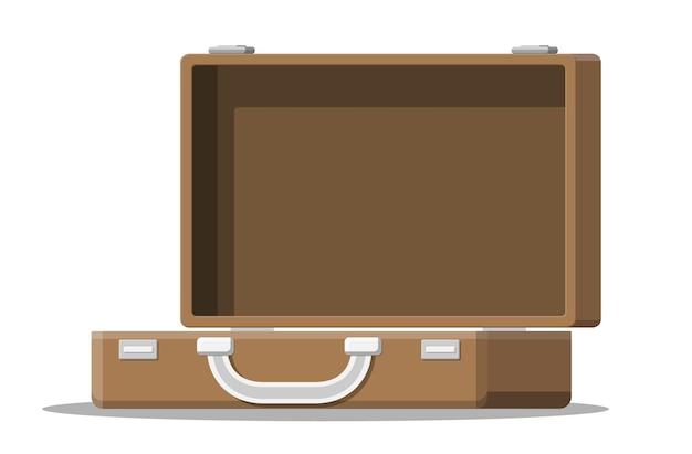 旅行イラストのヴィンテージスーツケースを開く