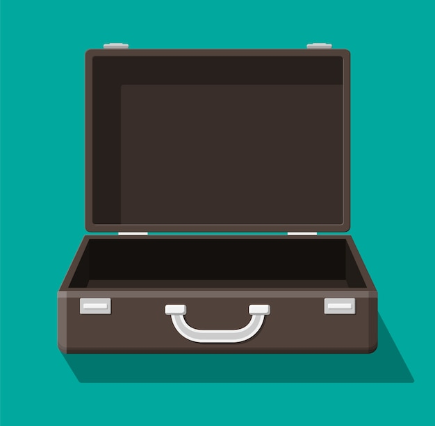 旅行のためのヴィンテージのスーツケースを開きます。