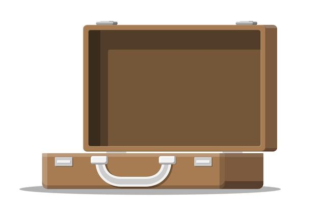 Open vintage suitcase for travel illustration
