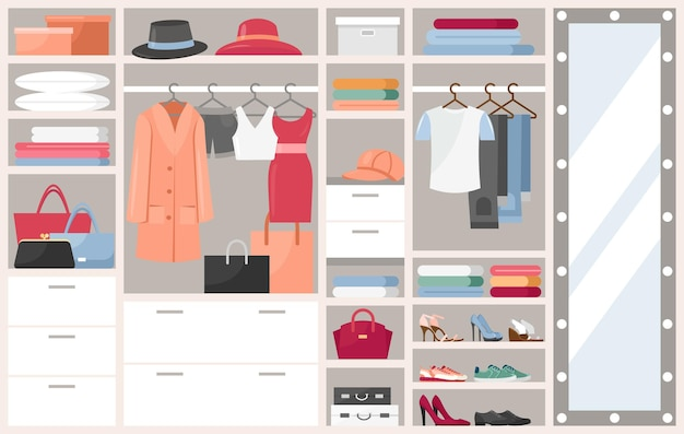 Open wardrobe with clothes shelves boxes with woman man shoes or hats, clothing opened dressing room