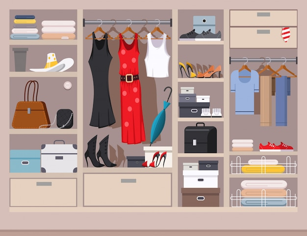 Open wardrobe with women's and men's clothing