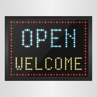Open welcome led panel sign background
