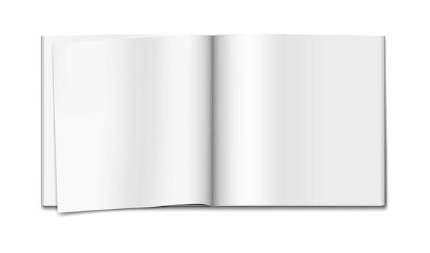 白い空白のペーパーバックのノートブックのモックアップパンフレットの小冊子またはカタログの空のページのテンプレートを開く