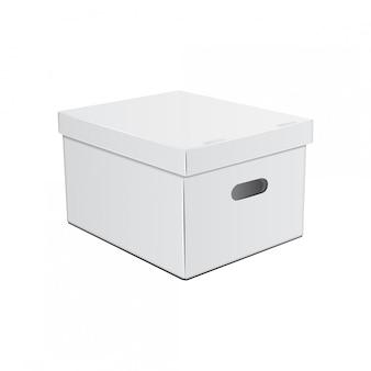 手用の穴の開いた白い段ボール箱。