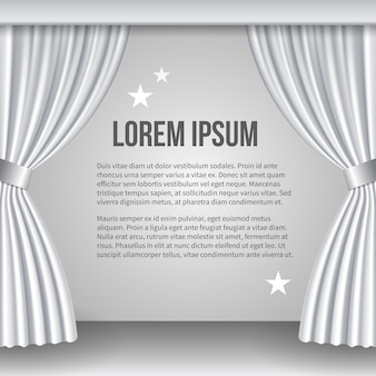 Open white curtain. space for text. scene and view, show and ceremony. vector illustration
