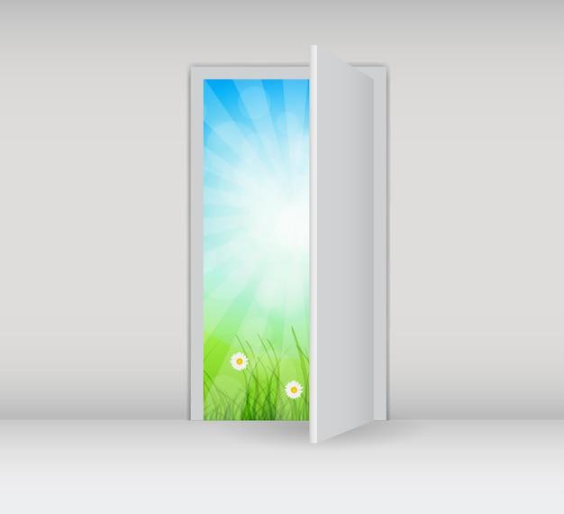 Открытая белая дверь на белой стене с векторной иллюстрацией природы