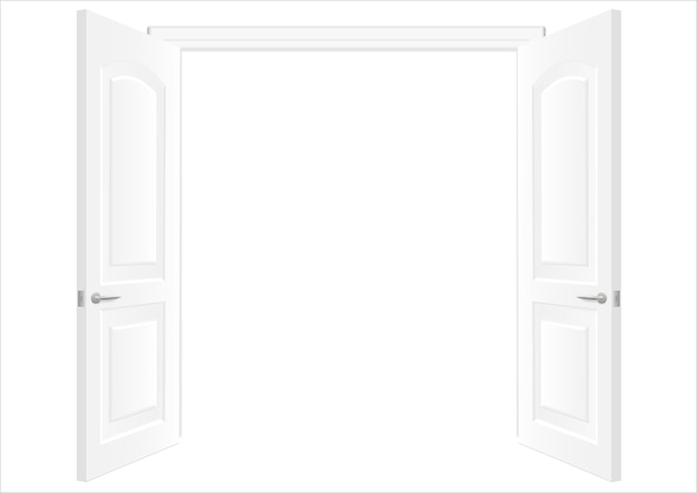 Open white double doors