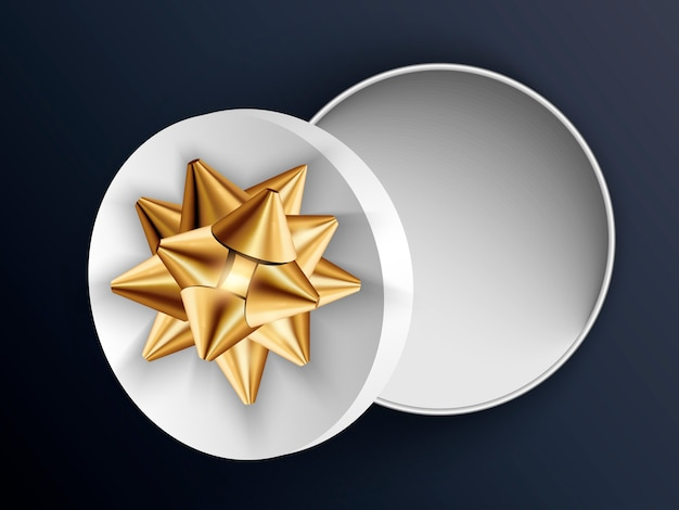 Open white gift round box with gold bow. illustration isolated .