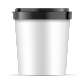 Open white paper cup with black lid for dessert