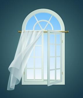 Композиция вздымающихся занавесок открытого окна с внутренним видом на окно с распахнутой створкой и кружевной занавеской