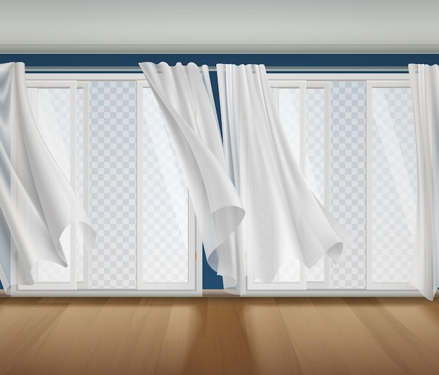 Open window billowing curtains transparent composition with indoor scenery and opened windows with transparent view outside