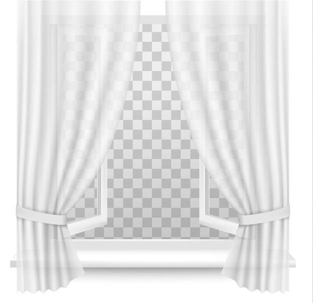 Открытое окно с шторами на прозрачном фоне. вектор.