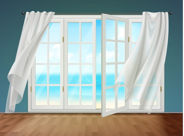 Open window with fluttering curtains