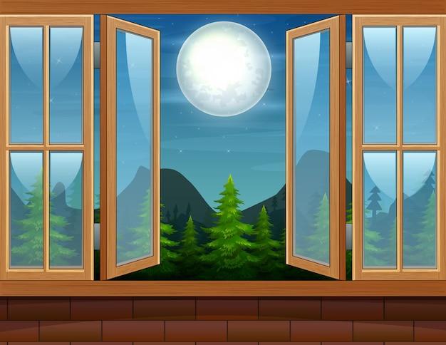Открытое окно с природным пейзажем ночью