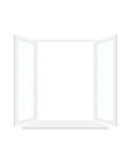 Open window with white frame