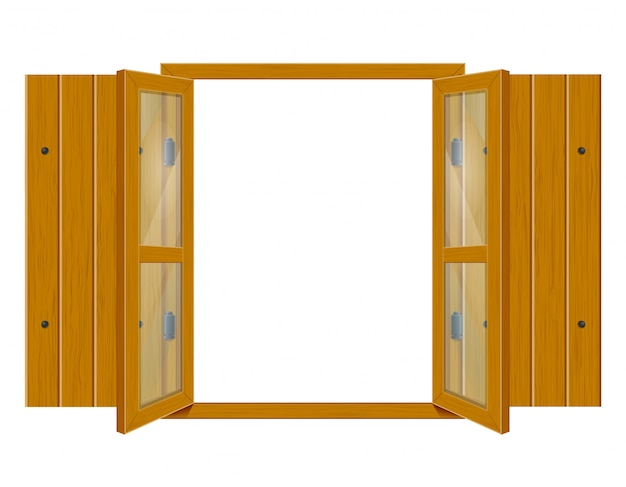 Open wooden window with shutters and transparent glass for design vector illustrationo