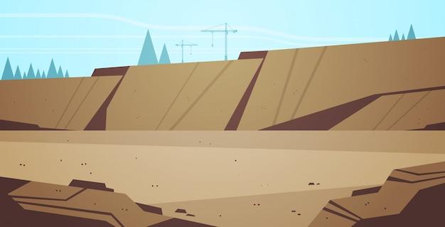 오픈 캐스트 광산 돌 채석장 산업 광산 생산 개념