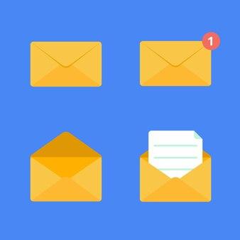 Открытый и закрытый золотой желтый конверт плоский дизайн векторные иллюстрации набор
