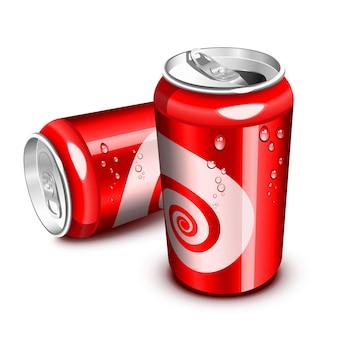 開閉したレッドコーラ缶