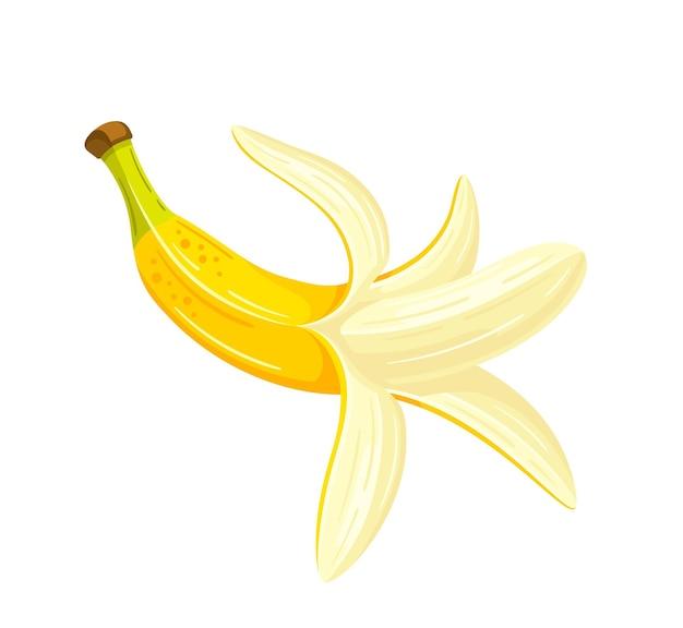 漫画風のバナナを開きました。フラットなデザイン。分離された黄色いバナナ。