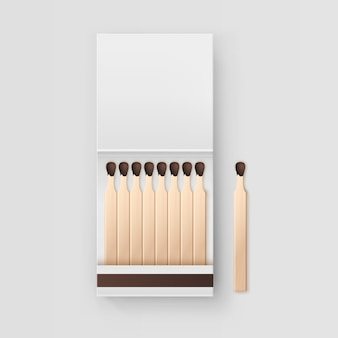 Opened blank book of matches  on white background