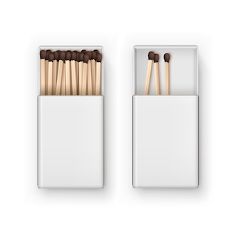 Opened blank box of brown matches isolated, top view on white