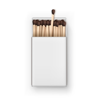 Opened blank box of brown matches top view isolated on white background