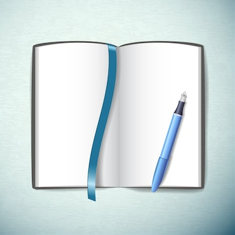青い色のフラットでペンとブックマークで空白のスケッチブックを開きました