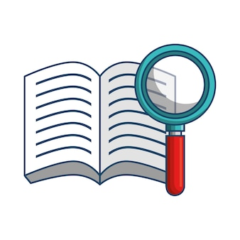 Opened book and magnifying glass