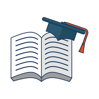 Opened book with graduation cap over white background. vector illustration.