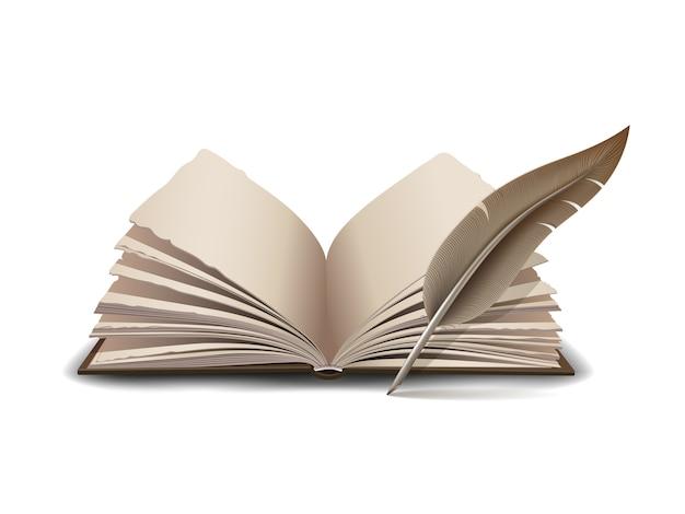 잉크 깃털 도구로 열린 책-흰색 배경에 그림