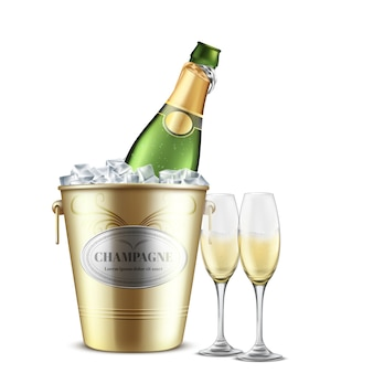 Opened bottle of champagne, white sparkling wine in restaurant, golden metal bucket with ice and two wineglasses filled with carbonated alcohol beverage realistic vector isolated