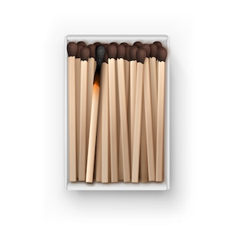 Opened box of brown matches with burned match top view isolated on white background