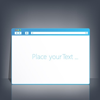 Opened browser window template on dark background for your design and your text.