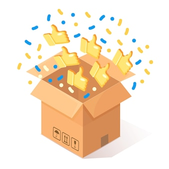 Opened cardboard, carton box with thumbs up  on background.  isometric package, gift, surprise with confetti. testimonials, feedback, customer review concept.