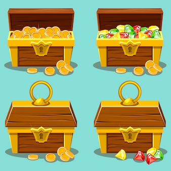 Opened and closed antique treasure chest