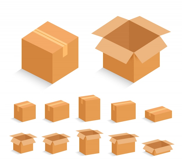 Opened and closed cardboard box. vector illustration.