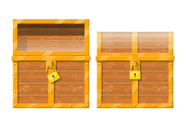 Opened and closed chest with padlock.