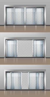 Opened and closed entrance door isolated set