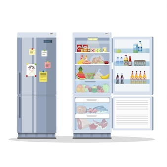 Opened and closed fridge or refrigerator with food. milk, fruit and vegetable, alcohol inside.    illustration