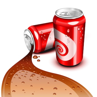 Opened and closed red can with cola flowing
