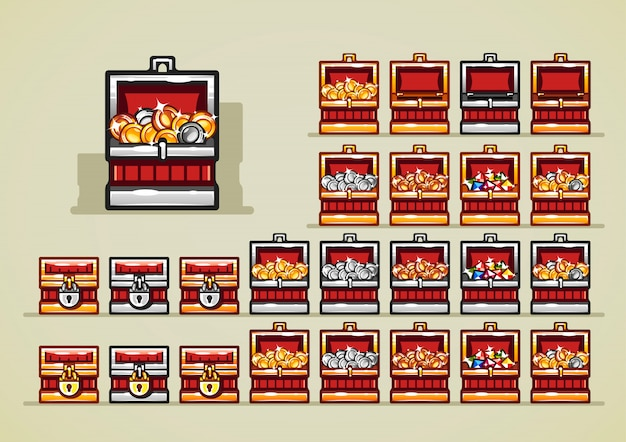Opened and closed royal chests with coins and gems for video games