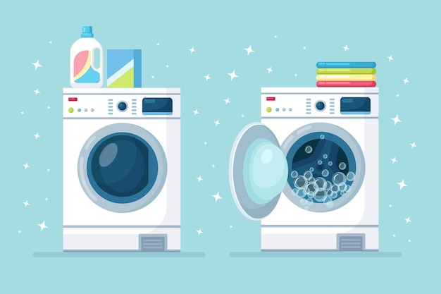 Opened and closed washing machine with stack of dry clothing and detergent isolated on background.  electronic laundry equipment for housekeeping. flat design