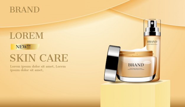 Opened cream and serum on stand advertisement
